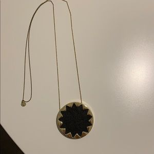 Black leather star necklace